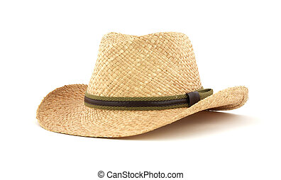 Straw hat - Front view of a straw hat against a white...