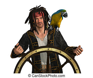 Pirate at Captain's Wheel - 3D render depicting a pirate at...
