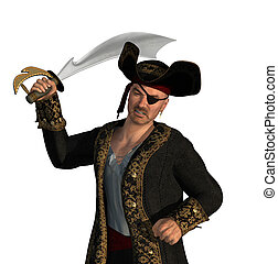 Menacing Pirate with Sword - 3D render of a pirate fighting...