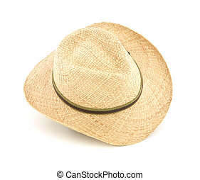 Wide brim straw hat - A wide brim straw hat against a white...
