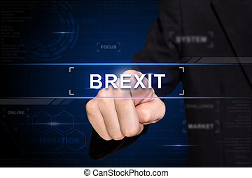 business hand pushing brexit or british exit button on...