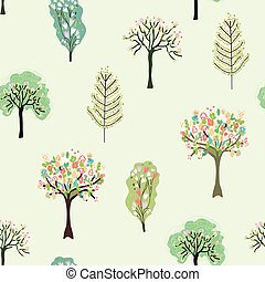 Seamless pattern with blossom trees for spring - vector...