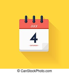 Vector Day calendar with date July 4, Independence day