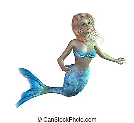 Teen Mermaid - 3D render of a cute, teen mermaid
