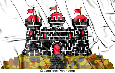3D Flag of Edinburgh, Scotland. 3D Illustration.