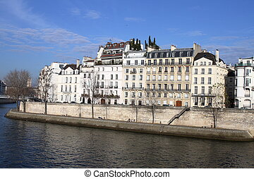 House building on Seine river - Paris - France