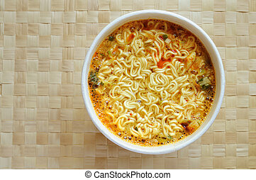 Instant noodle - Spicy instant noodle in a foam bowl