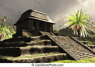 Ancient Mayan Ruins - 3D render featuring Mayan ruins in...