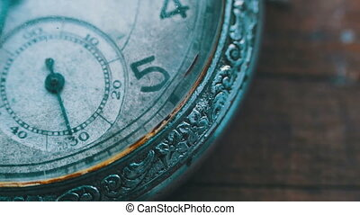 Old vintage clock mechanism watch time going fast. Antique...
