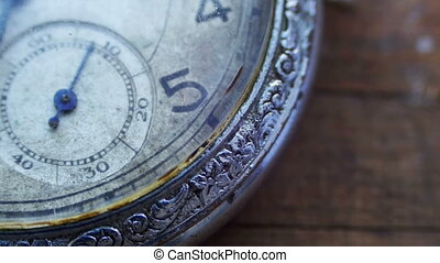 Closeup of vintage pocket clock time going fast - Antique...