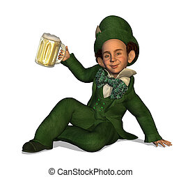 Leprechaun with Beer - 3D render depicting a Leprechaun...