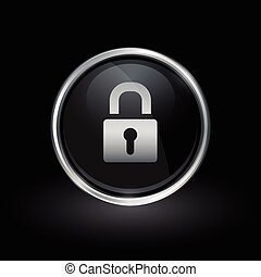 Security padlock icon inside round silver and black emblem