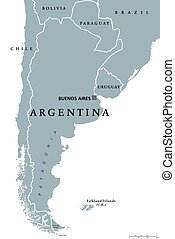 Argentina political map with capital Buenos Aires, national...