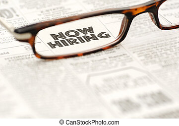 Now Hiring classified ad framed in glasses - Now Hiring...