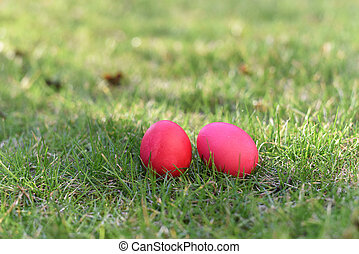 Two red easter eggs