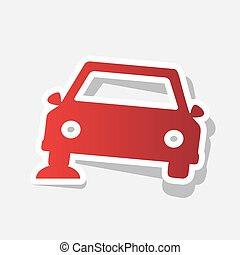 Car parking sign. Vector. New year reddish icon with outside stroke and gray shadow on light gray background.