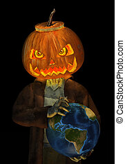 Jack O Lantern Zombie Rules the World - 3D render of a Jack...