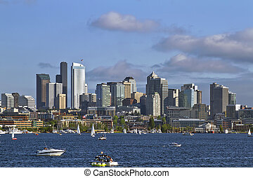 Seattle Skyline on Lake Union - Seattle Washington Skyline...