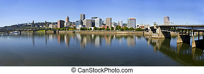 Portland Oregon Downtown Skyline Panorama 3 - Portland...