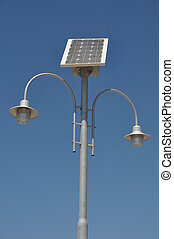 Solar powered lamp post - street lamp post with solar panel...