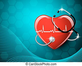 Stethoscope medical equipment and heart shape. Vector...
