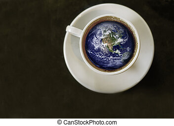 World in a cup - coffee cup with the world inside