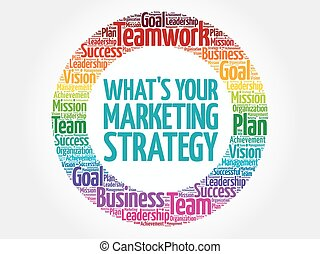 What's Your Marketing Strategy circle word cloud, business...
