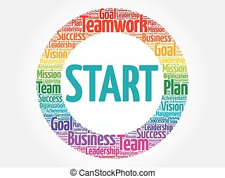Start circle word cloud, business concept