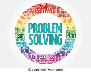 Problem Solving circle word cloud, business concept