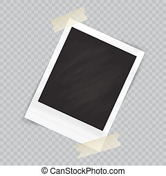 Old empty realistic photo frame with transparent shadow on checkered background. Border to family album. Vector illustration for your design and business