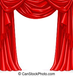Big red curtain draped with pelmet  isolated on a white background