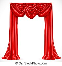 Red curtain isolated on a white background 1
