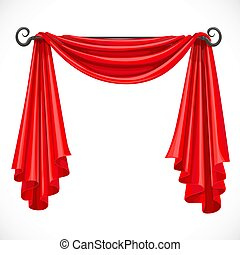 Red curtains on the ledge forged isolated on a white...