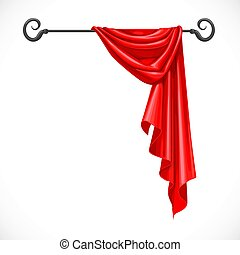 Red drapery hanging on forged cornice isolated on a white...