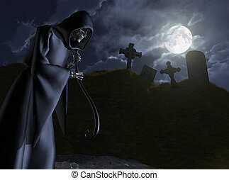 The Grim Reaper Stalks a Cemetery - The Grim Reaper takes a...