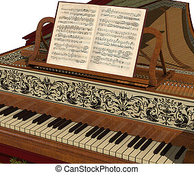 Harpsichord Keyboard - Close-up of a Harpsichord with sheet...