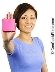 Young woman has a sticky note stuck on her hand. - A pretty,...