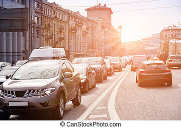 Cars in a traffic jam - Cars are standing in a traffic jam