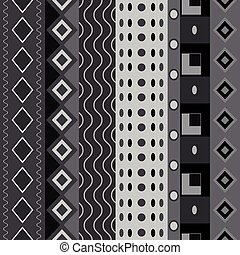Black white seamless shapes pattern. Abstract vector...
