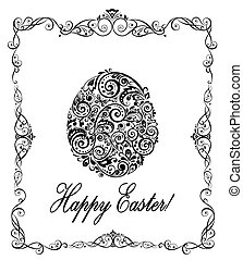 Greeting easter card with decorative floral egg (black and...