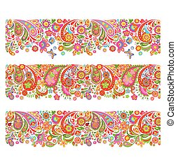 Summery seamless borders with decorative colorful flowers...