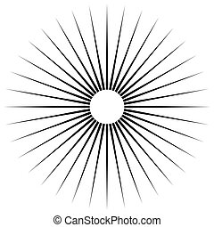 Radial lines abstract geometric element. Spokes, radiating...