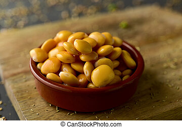 altramuces, lupinus albus beans eaten in Spain