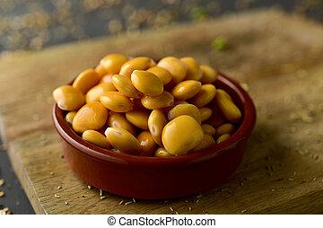 altramuces, lupinus albus beans eaten in Spain - closeup of...
