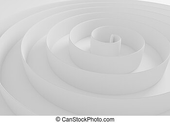 white abstract spiral border background 3d illustration