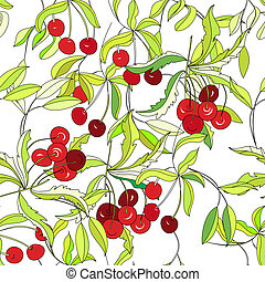 Seamless wallpaper with cherry
