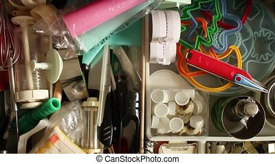Utensils in kitchen drawer - cutlery drawer opens full...
