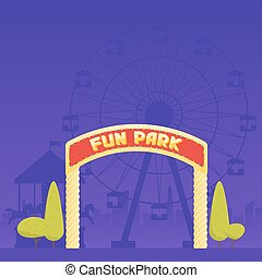 Entrance to the amusement park. Circus carousel and a ferris wheel in the background. Vector illustration