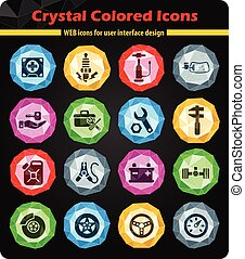 car shop icon set - car shop crystal color icons for your...