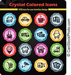 bus station icon set - bus station crystal color icons for...